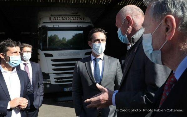 Visite de JB Djebbari chez Lacassagne Groupe Guyamier Covid 19 Transport