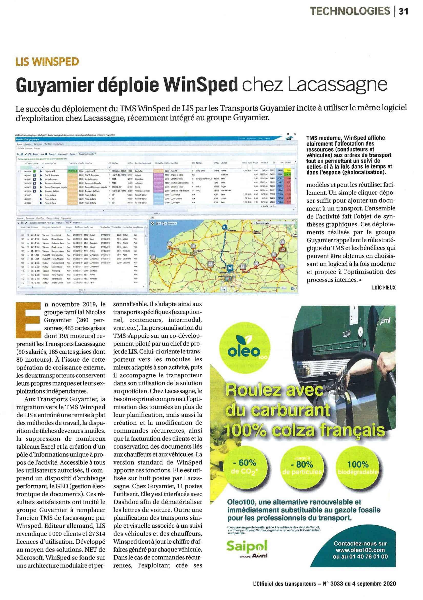 Article Officiel des transporteur déploiement Logiciel LIS dans le groupe Guyamier